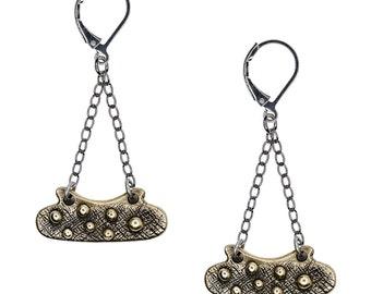 Porterness Studio Bronze Earrings on Sterling Silver Findings - Bumpy Pill