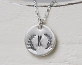Laurel Leaves - Custom Hand Stamped Initial Necklace STERLING SILVER