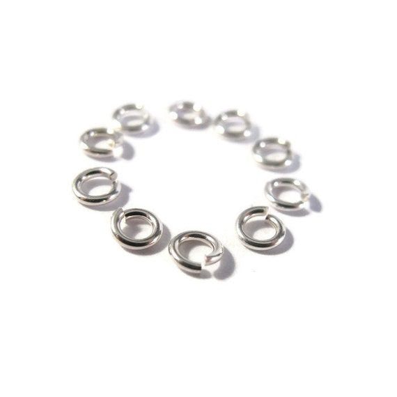 4mm Open Rings, 10 Hard Snap .925 Sterling Silver Jump Rings, 20 Gauge, Jewelry Findings, Connectors, Strong, Small Rings (H-SJH1)