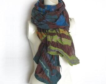 Felted Scarf Shawl Wool Silk Nuno Redish-Brown Green Blue Turquoise Emerald-Green Stripes Extra long