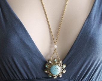 Large Turquoise Necklace Faux Turquoise Necklace Vintage Jewelry Long Necklace One of a Kind
