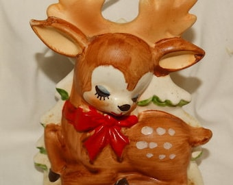 Lefton Reindeer Napkin Holder, classic Christmas Decorations, Rudolph The Red Nosed Reindeer, Bambi, Fawn, Doe antique holiday