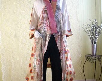 Silk Kimono Caftan/Bohemian Jacket/Free Size Kimono/Patchwork Silk Cardigan by BrendaAbdullah