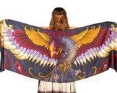 Phoenix Scarf, Pagan Clothing, Fantasy Art, Women Scarf, Girlfriend Gift, Women Shawl, Wing Scarf Elven Clothing, Tribal Scarf, Bird Scarf