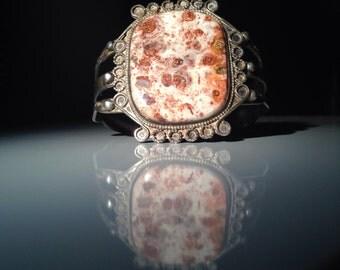 Navajo Petrified Palm Cuff Bracelet in Sterling Silver