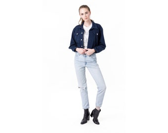 JEAN JACKET DENIM jacket Navy Blue 90s minimal cropped Women fall Small / better Stay together