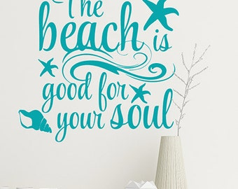 Beach Bathroom Decal Etsy - Beach vinyl decals
