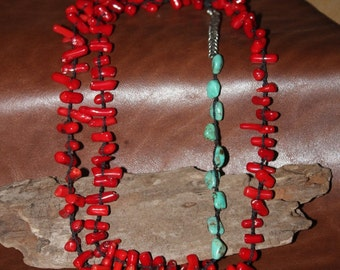 Coral and Turquoise Braided Silk Necklace