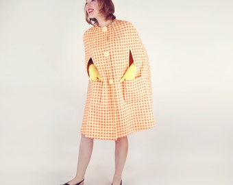 60s Orange & Yellow Plaid Mod Cape - Easy fit