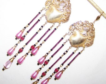 CZECH Vintage 20s-30s Dangle Earrings with Pink and Purple Glass Beads