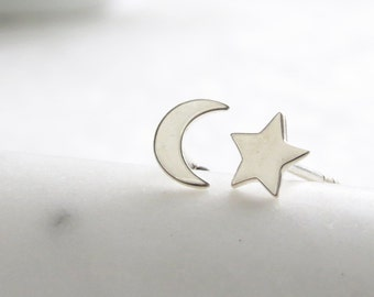 Crescent Moon & Star Stud Earrings • Petite Moon and Star • Small Earring Posts • Simple Minimal Earrings • Celestial Studs • Stud Earrings