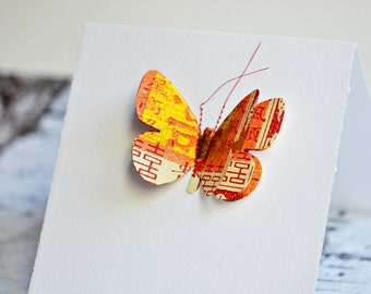Stitched Orange Gold Butterfly Card  | Butterfly Card | Butterfly Collage Card | Pop Up 3D Butterfly Card | Be My Valentine Card