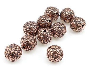 Antique Copper Beads Flower Beads Copper TierraCast FLORAL ROUND Beads - Tierra Cast Pewter Flower Beads - 8mm Round Beads (P1047)