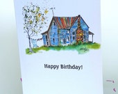 Birthday Card, That House 2 illustration 4 x 6