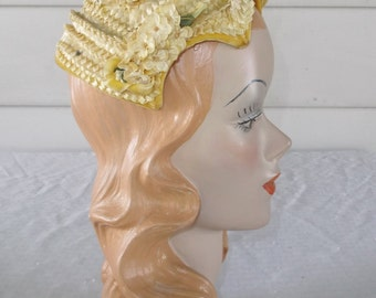 1950s Vintage Yellow Straw Cocktail Hat with Flowers and Rhinestones Jonquil Original