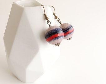 Striped Ceramic Bead Earrings -- Large Blue, Red and Cream Baubles -- Brass Earring Drops -- UK Shop
