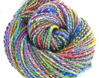 Handspun Yarn Chunky Yarn Hand Dyed Bulky Wool Rayon Silk Yarn Art Yarn  6.2 oz - Rainbow Sparkle