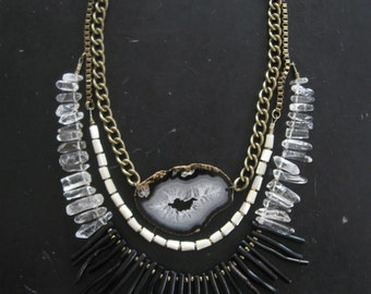 Stone and Black Coral Fringe Bib Statement Necklace - Mother of Pearl Quartz Crystals and Geode Slice