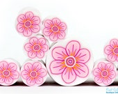 Baby pink , Pink , white and Orange Polymer clay millefiori Flower cane , raw and unbaked polymer clay Fimo cane by Ronit Golan PM