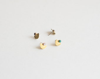 Suma Small Studs - Half Circle, Moon Stone Earrings