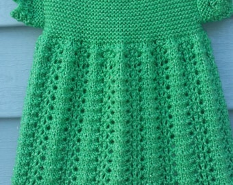 Hand Knit Infant Green Sparkle Dress scalloped edging, short sleeve with button back closure, Size 9-12 months