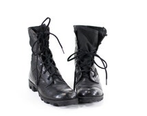 Vintage 90s Military Boots Black Leather Combat Boots Mens Size 6 Womens Size 7.5