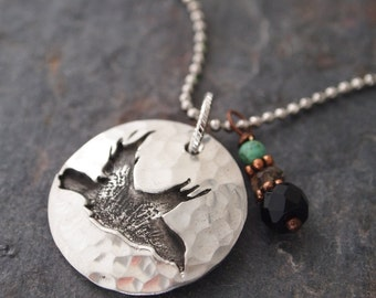 Gemstone and Crow Necklace
