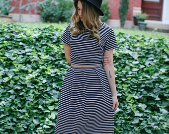 Ready to ship- Short Sleeve Crop Top Tee, Midi Skirt, Black and White Striped Jersey, LineandBloom Separates, Fall Fashion Stripes Crop Top