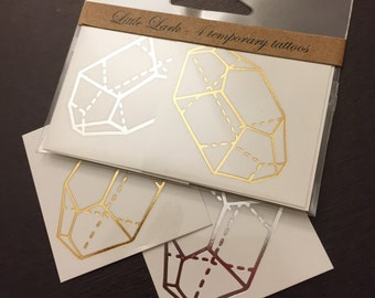 Metallic Gold Citrine Crystal temporary tattoos, shiny silver gem jewel golden stone design by Little Lark, transfer on skin & paper goods