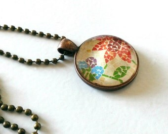 Glass Mosaic Flower Pendant with Chain- Copper Flower Pendant- Mosaic Flower Necklace