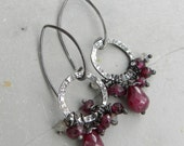Lush Red Gem Handmade Hoop Sterling Earrings - Ruby Garnet Quartz