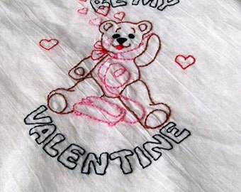 Dish Towel, Hand Embroidery, Be My Valentine, Valentine Towel, Valentine Bear