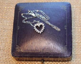 Vintage Platinum Diamond Heart Pendant on Platinum Chain