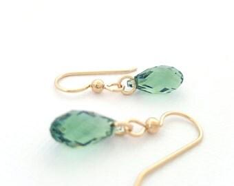 Green Drop Earrings gold minimalist earrings crystal briolette
