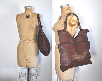Burgundy Leather Market Tote Bag / Weekender shopper