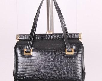vintage 1960s Kadin purse black leather alligator croc pattern embossed kelly hand bag mod 60s