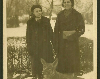 Unusual Folk Art Wolf/Dog & Women - 1920s RPPC