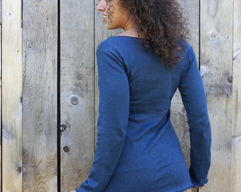 SAMPLE SALE - Size S/M - Navy - Hemp Long Sleeve Shirt - Ready to Ship - Hemp & Organic Cotton  - Eco Fashion - Organic Women's Clothing