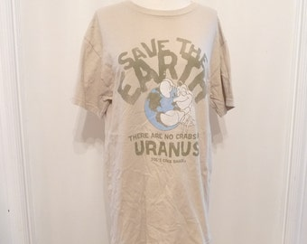 Save The Earth No Crabs on Uranus TShirt Cartoon Sea Life Nature Creature Tan Cotton Tee Wildlife Short Sleeve Top Joe's Crab Earth Day Med
