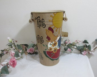 Metal Vase Bucket Deck Decor Hand Painted Rooster The Simple Life Farmhouse Pail