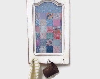 Framed Vintage Quilt Under Glass Wall Hanging - Shabby Cottage Decor - Hooks for Hanging Towels, Keys, Utensils, Etc.