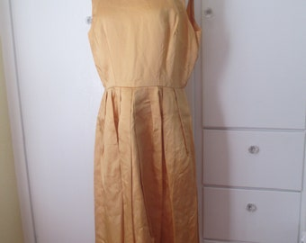 Handmade Gold Cocktail Dress, Pleated Skirt, Mustard, Satin, Structured, Handmade Vintage, Knee Length, Formal, White Tie, Size Large