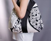 Black and White Graphic Printed Tote-Limited Edition/shoulder/bags/handbags/totes/casual/handmade/novelty-092