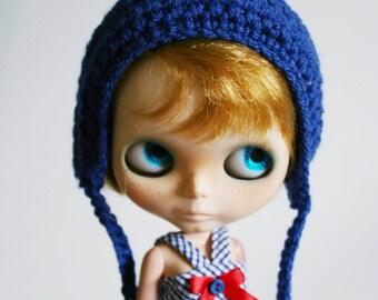 Gnome Hat for Blythe - Crochet Helmet - Royal Blue