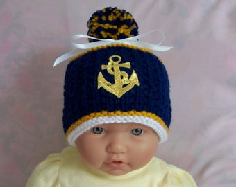 Nautical baby Sailor hat cap beanie  0-12M  Sailor baby cute for photo. Baby shower gift. READY TO SHIP