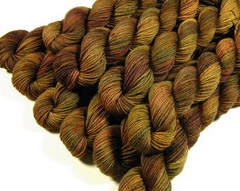 Mini Skeins - Hand Dyed Yarn - Sock Weight 4 Ply Superwash Merino Wool Yarn - Antique Brass - Knitting Yarn, Sock Yarn, Wool Yarn, Gold