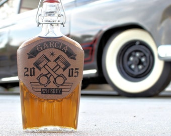 Personalized Whiskey Decanter, Engraved Flask, Drag Racing, Street Racing, Hot Rod Gift, Car Lover Gift, Engineer Gift, Motorcycle Gifts