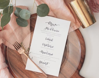 Hand lettered brush calligraphy wedding and event menu