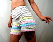 Vintage White Rainbow Pastel Ruffled Rockabilly Bloomers