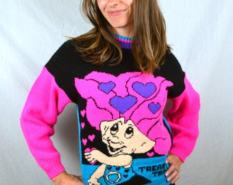 RARE Vintage 1992 1990s 90s Club Kid Treasure Troll Doll Pink Knit Sweater RARE